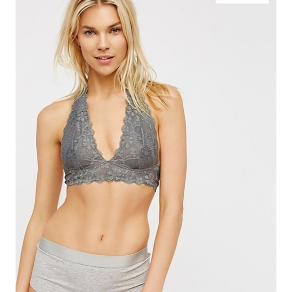 411a02968a2a3a Free People Other - Free People Galloon Lace Halter Bra Gray Size S